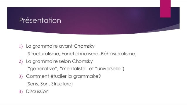 Synopsis of Generative Grammar and its overall concepts in FRENCH Slide 2