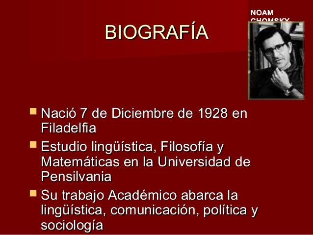 BIOGRAFÍABIOGRAFÍA  Nació 7 de Diciembre de 1928 enNació 7 de Diciembre de 1928 en FiladelfiaFiladelfia  Estudio lingüís...