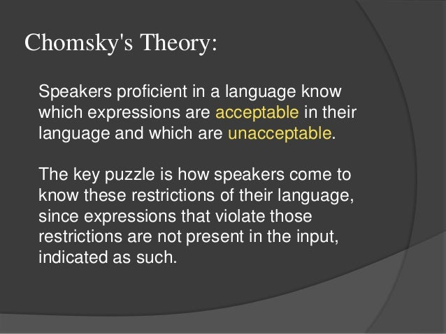 """universal grammar chomsky essay Universal grammar is defined by chomsky as """"the system of principles, con- ditions, and rules that are elements or properties of all human languagesthe essence of human language"""" (chomsky, 1978."""