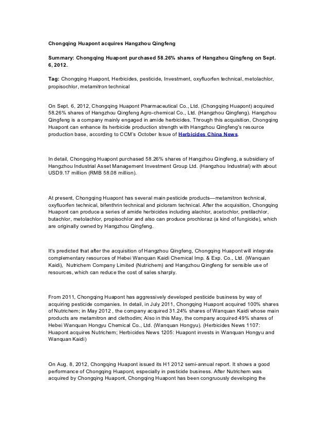 Chongqing Huapont acquires Hangzhou QingfengSummary: Chongqing Huapont purchased 58.26% shares of Hangzhou Qingfeng on Sep...