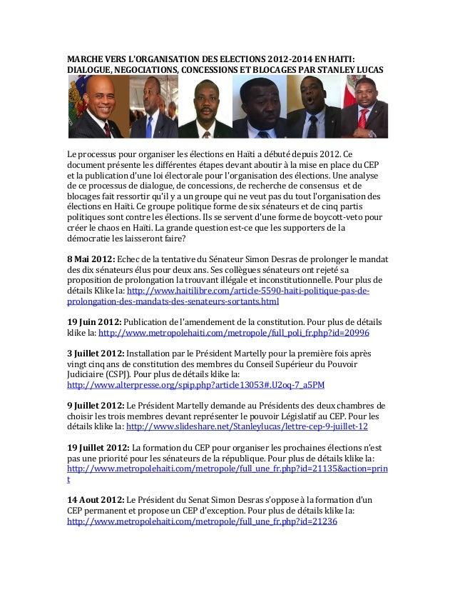 MARCHE  VERS  L'ORGANISATION  DES  ELECTIONS  2012-2014  EN  HAITI:  DIALOGUE,  NEGOCIATIONS,  CONCESSIONS  ET  BLOCAGES ...