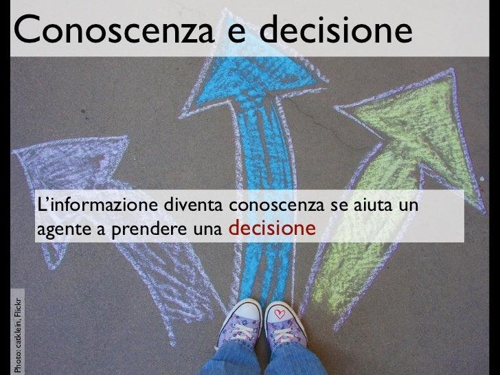 Conoscenza e decisione                          L'informazione diventa conoscenza se aiuta un                          age...