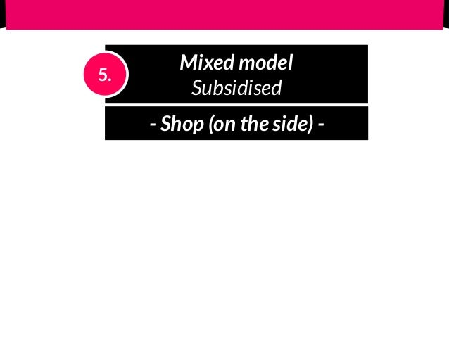 Mixed model Subsidised 5. - Shop (on the side) - - Razor-blade (add-ons) -