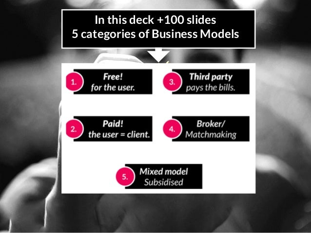 In this deck +100 slides 5 categories of Business Models