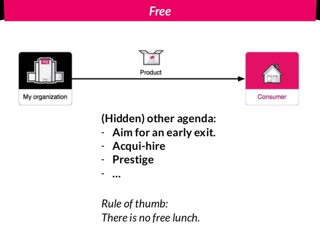Free (Hidden) other agenda: - Aim for an early exit. - Acqui-hire - Prestige - … Rule of thumb: There is no free lunch.