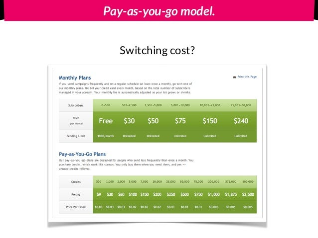Pay-as-you-go model. Switching cost?