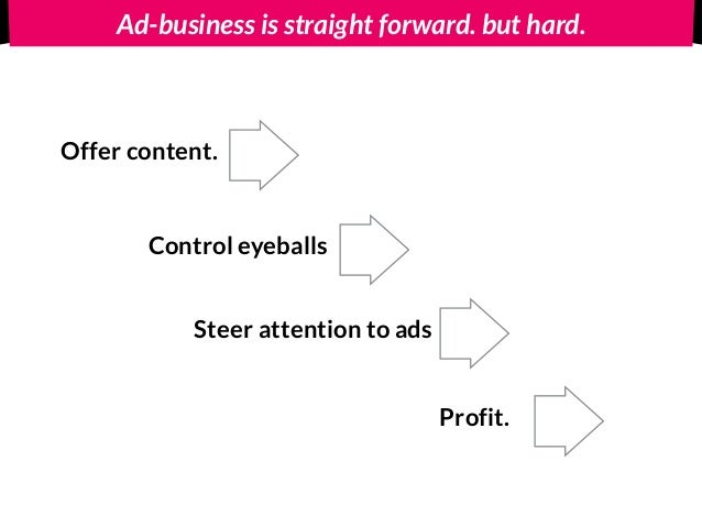 Ad-business is straight forward. but hard. Offer content. Control eyeballs Steer attention to ads Profit.