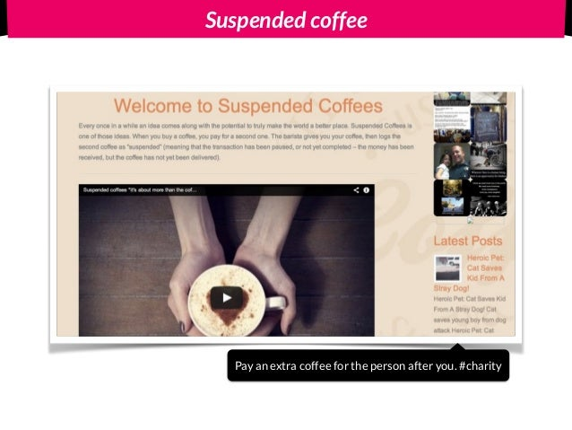 Suspended coffee Pay an extra coffee for the person after you. #charity