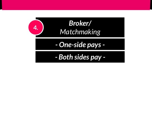 Broker/ Matchmaking 4. - One-side pays - - Both sides pay -