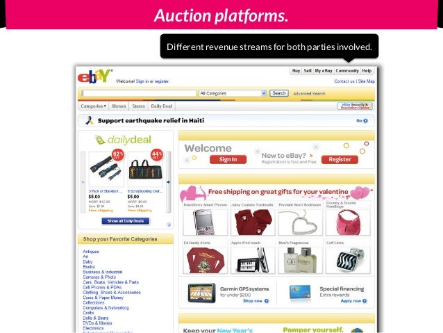Auction platforms. Different revenue streams for both parties involved.