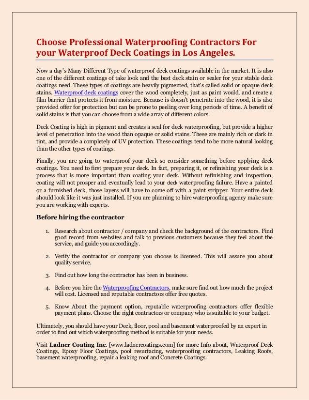 Choose Professional Waterproofing Contractors For Your Waterproof Deck  Coatings In Los Angeles.