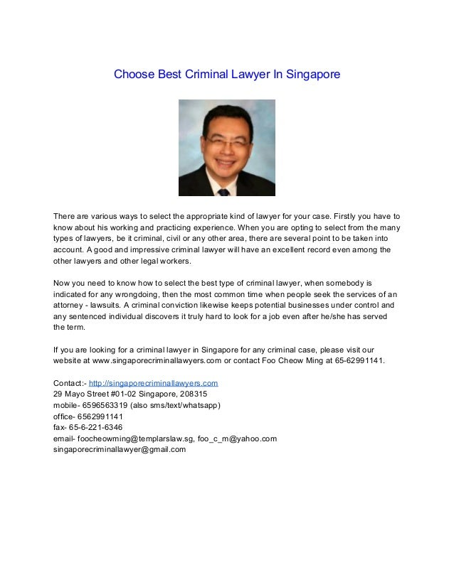 Choose Best Criminal Lawyer In Singapore