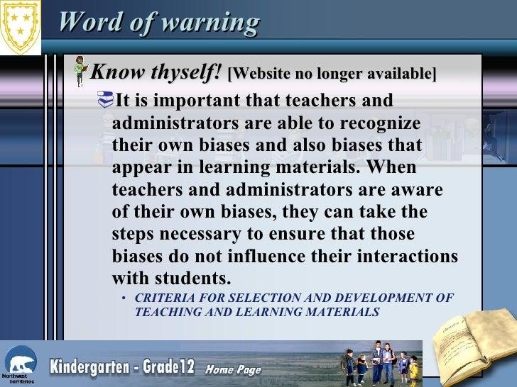 Word of warning <ul><li>Know thyself!  [Website no longer available] </li></ul><ul><ul><li>It is important that teachers a...