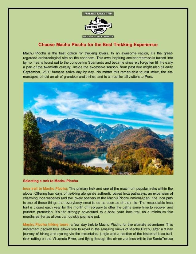 Choose Machu Picchu For The Best Trekking Experience