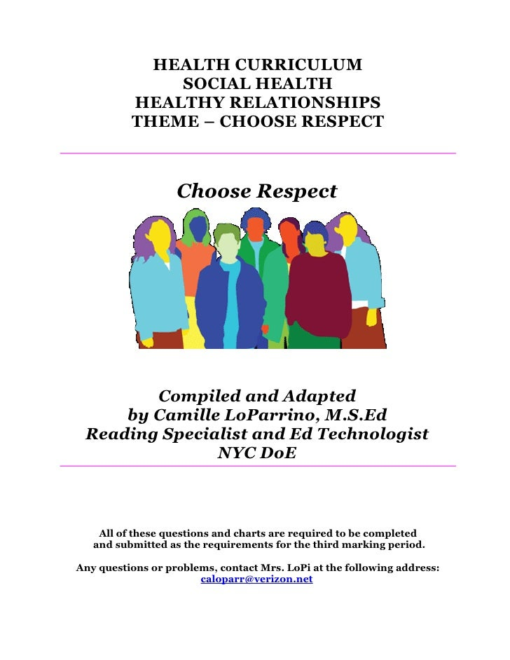 HEALTH CURRICULUM               SOCIAL HEALTH           HEALTHY RELATIONSHIPS           THEME – CHOOSE RESPECT            ...