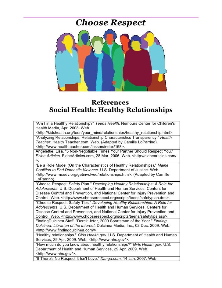 """Choose Respect                        References        Social Health: Healthy Relationships """"Am I in a Healthy Relationsh..."""