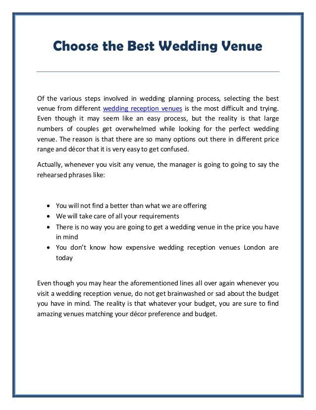 Choose Wedding Reception Venue London