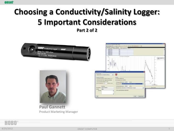 onset     ®                Choosing a Conductivity/Salinity Logger:                      5 Important Considerations       ...