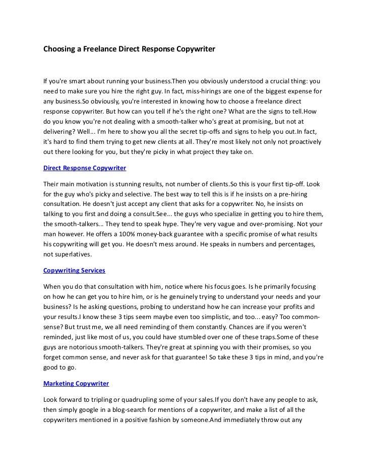 Choosing a Freelance Direct Response Copywriter