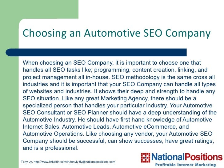 <ul><li>When choosing an SEO Company, it is important to choose one that handles all SEO tasks; programming, content creat...