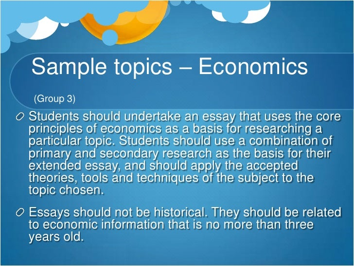 economics extended essay topic Economics essay - economics is an ever-changing field of study  economics - definition of topic: economics is the study of supply and demand.