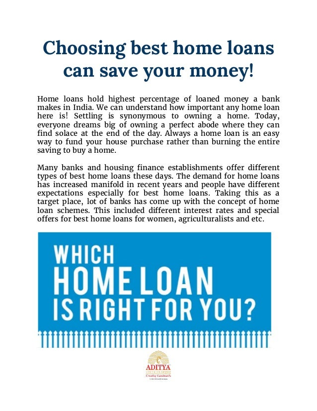 Choosing best home loans can save your money aditya for Ways to save money building a house
