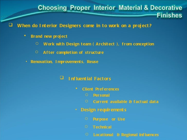 Choosing materials in interior design for all centuries or for Interior design with waste material
