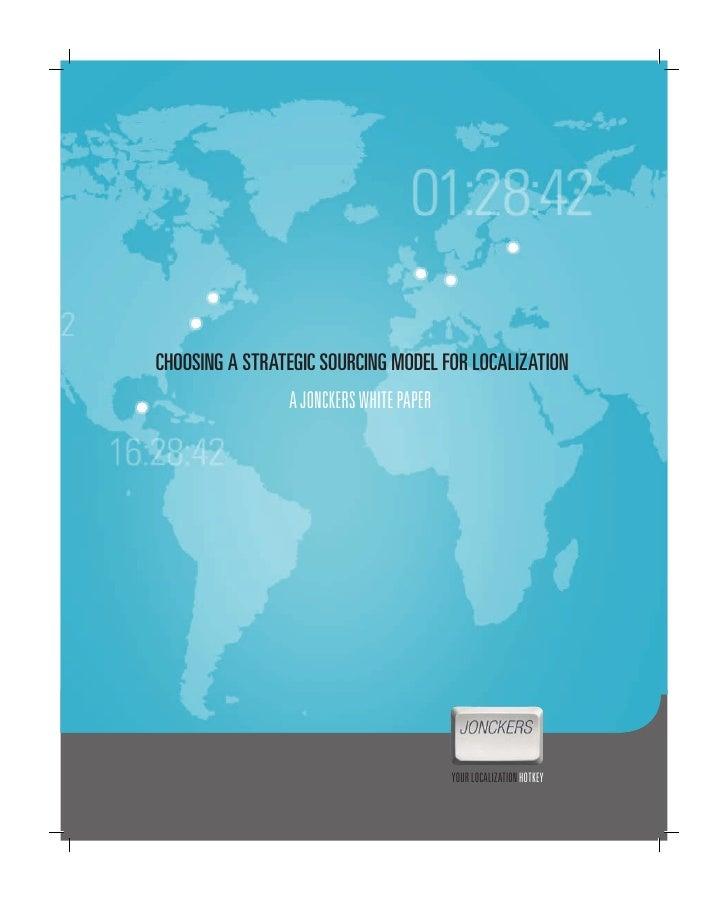 Jonckers: Choosing A Srategic Sourcing Model For Localisation
