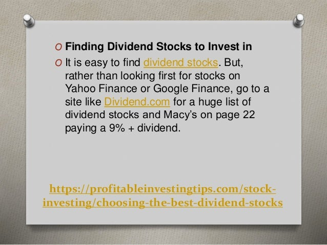 Choosing the Best Dividend Stocks