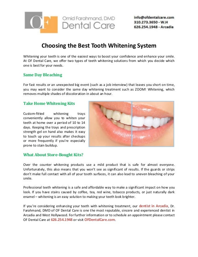 Choosing The Best Tooth Whitening System