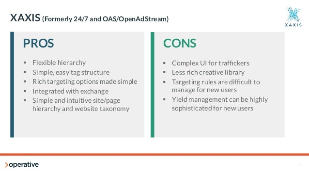 13  XAXIS (Formerly 24/7 and OAS/OpenAdStream)  PROS  CONS  § Flexible hierarchy  § Simple, easy tag structure  § Rich ...