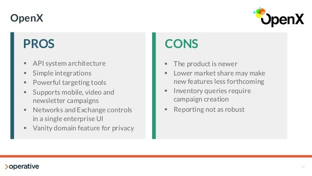 14  OpenX  PROS  CONS  § API system architecture  § Simple integrations  § Powerful targeting tools  § Supports mobile...