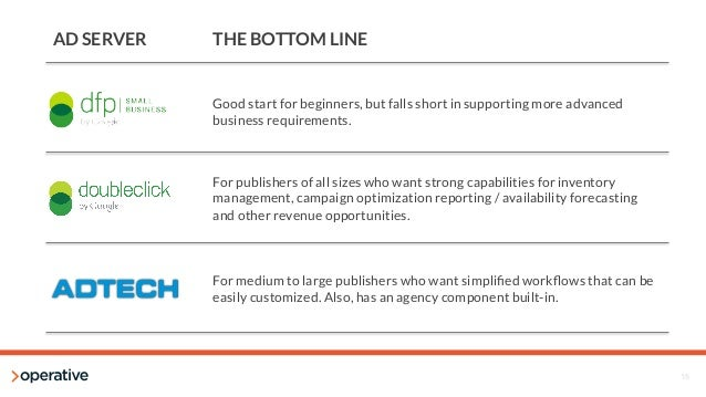 15  AD SERVER  THE BOTTOM LINE  Good start for beginners, but falls short in supporting more advanced  business requiremen...