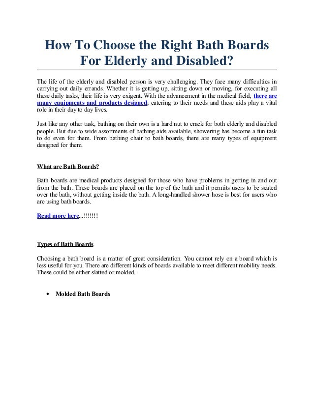 How To Choose the Right Bath Boards For Elderly and Disabled?