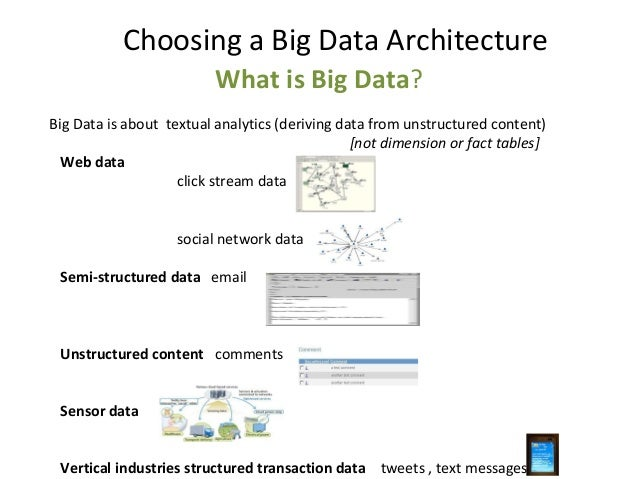 What is Big Data? Big Data is about textual analytics (deriving data from unstructured content) [not dimension or fact tab...