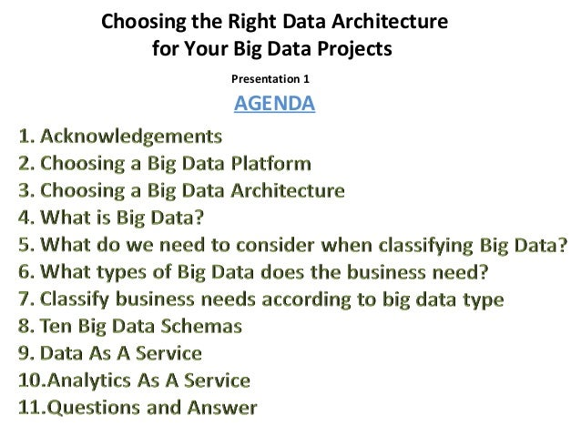 Presentation 1 Choosing the Right Data Architecture for Your Big Data Projects AGENDA