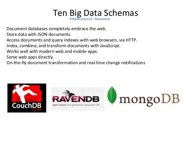 Ten Big Data SchemasPolyStructured - Document Document databases lack a schema, or rigid pre-defined data structures such ...