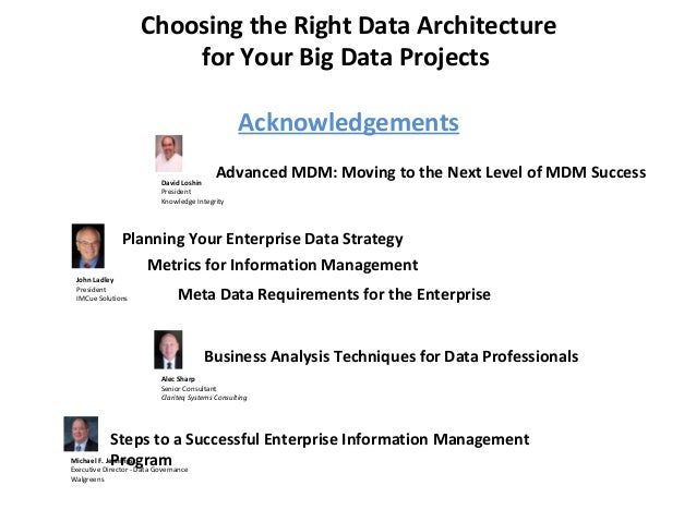 Choosing the Right Data Architecture for Your Big Data Projects Acknowledgements Planning Your Enterprise Data Strategy Jo...