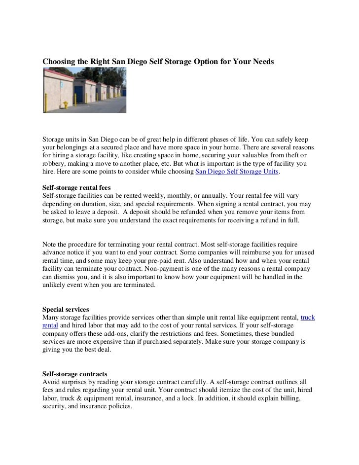 Choosing The Right San Diego Self Storage Option For Your Needs