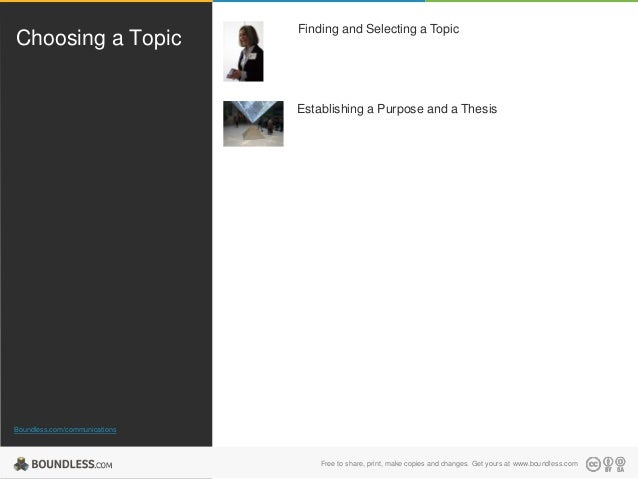 Choosing a Topic  Finding and Selecting a Topic  Establishing a Purpose and a Thesis  Boundless.com/communications  Free t...