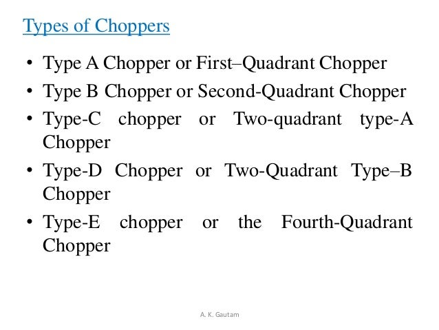 Types of Choppers• Type A Chopper or First–Quadrant Chopper• Type B Chopper or Second-Quadrant Chopper• Type-C chopper or ...