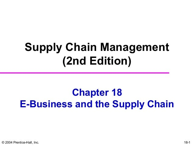 © 2004 Prentice-Hall, Inc. 18-1Chapter 18E-Business and the Supply ChainSupply Chain Management(2nd Edition)