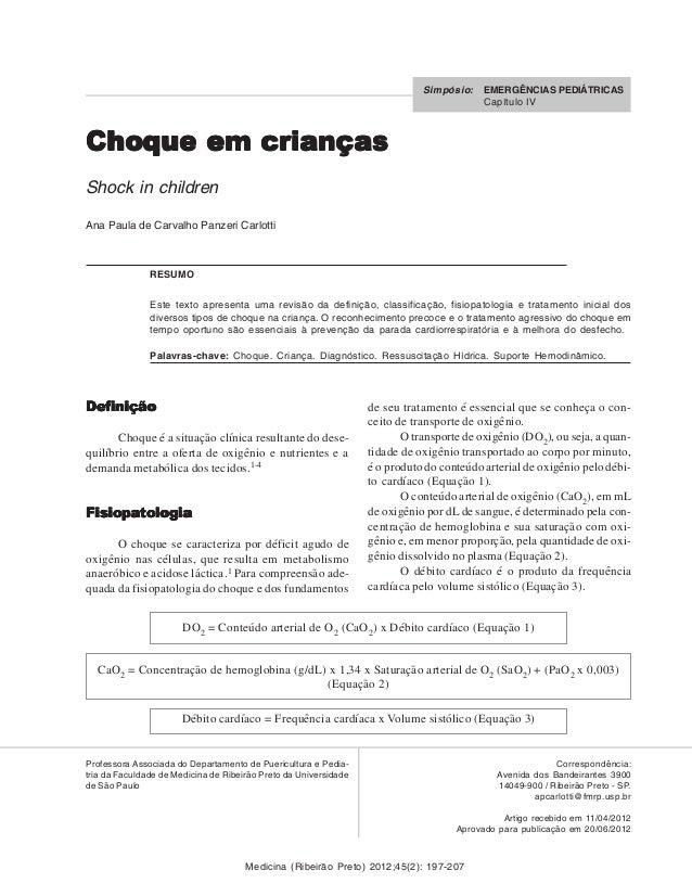 Medicina (Ribeirão Preto) 2012;45(2): 197-207 Choque em criançasChoque em criançasChoque em criançasChoque em criançasChoq...