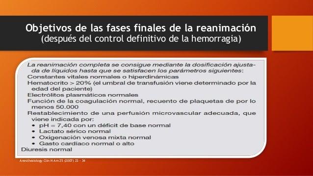 Objetivos de las fases finales de la reanimación (después del control definitivo de la hemorragia) Anesthesiology Clin N A...