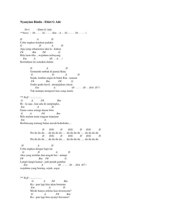 Lirik Lagu Ebiet G Ade Nyanyian Rindu