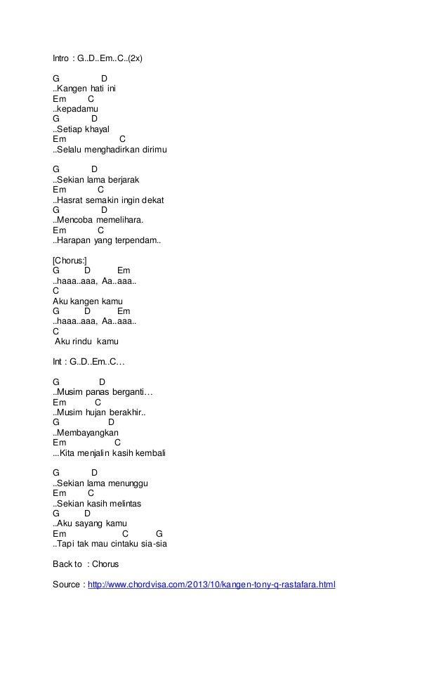 Chord Kangen by Tony Q Rastafara | Kunci Gitar Reggae