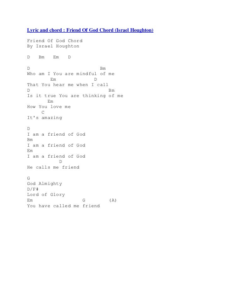 Lyric friend of god lyrics : Chord lagu rohani