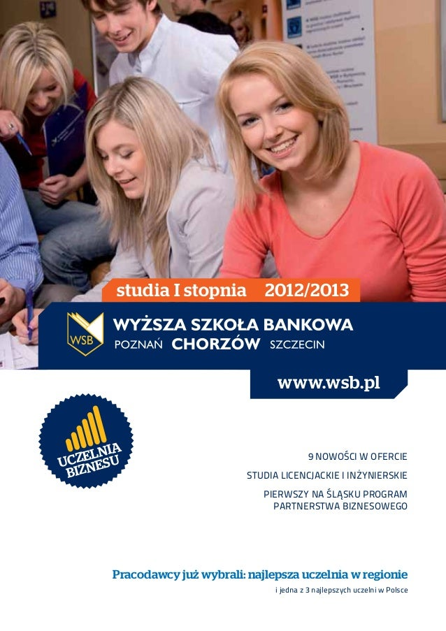 studia I stopnia          2012/2013                                      www.wsb.pl        IA  Z E LN UUC NES             ...