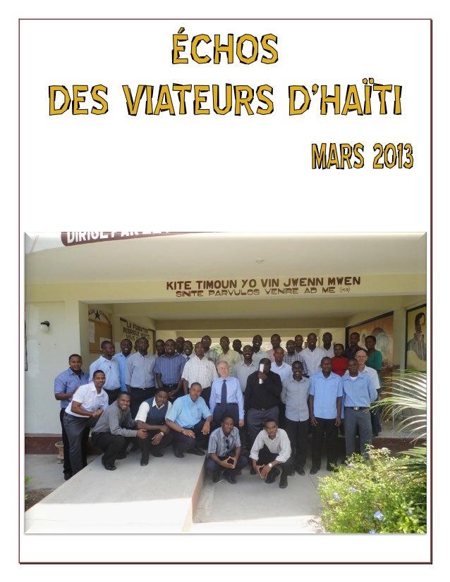 ECHOS                                     DES VIATEURS D'HAITI                                          MARS 2013         ...