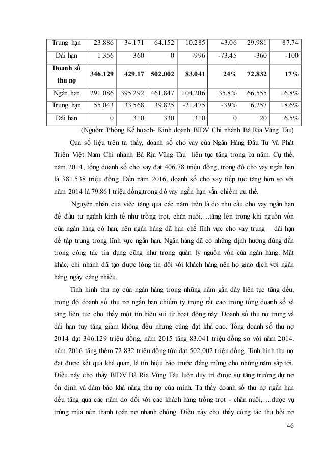 BIDV -Thực trạng cho vay tiêu dùng tại Ngân Hàng Đầu Tư Và Phát Triển Việt Nam Chi nhánh Bà Rịa – Vũng Tàu